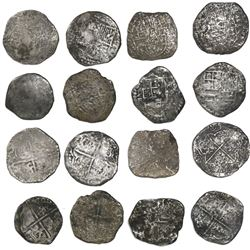 Lot of 8 Potosi, Bolivia, cob 8 reales, Philip II and III, various assayers (where visible).