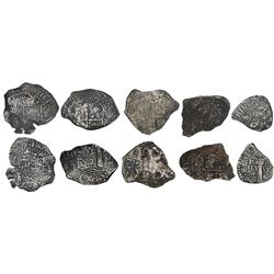 Lot of 5 Potosi, Bolivia, cob 8R fragments, (1652)E transitional Types IV, V, V/B, VII and VIII/B (p