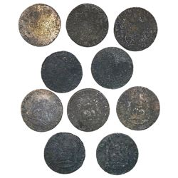 Lot of 5 Mexico City, Mexico, pillar 8 reales, Philip V, various dates: 1734MF, 1738MF, 1740MF (3).