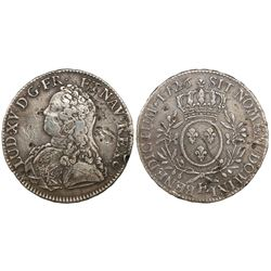 France (Tours mint), ecu, Louis XV, 1726-E.