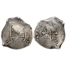 Mexico City, Mexico, cob 8 reales, Philip IV, assayer P (1660s).