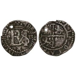 Lima, Peru, cob 1/2 real, Philip II, assayer Diego de la Torre, •D to right of monogram, star over X