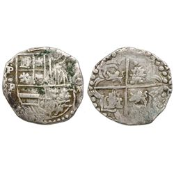Potosi, Bolivia, cob 8 reales, Philip IV, assayer •P (1620s), quadrants of cross transposed.