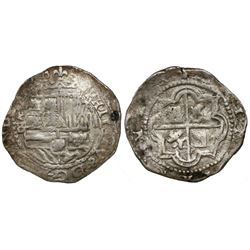 Potosi, Bolivia, cob 2 reales, Philip II, assayer B (5th period), border of x's on obverse, border o