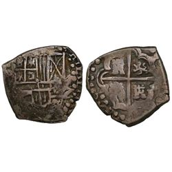 Potosi, Bolivia, cob 2 reales, Philip IV, assayer not visible (1620s).