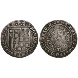 Burgos, Spain, 1 real, Ferdinand-Isabel, mintmark B on reverse, legend ending with scallop and Jerus