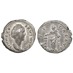 Roman Empire, AR Denarius, Diva Faustina Senior, wife of Antoninus Pius, died 141 AD, struck under A