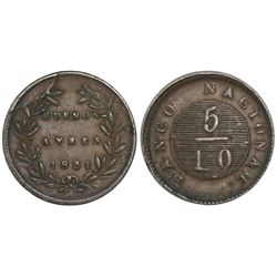 Buenos Aires, Argentina (National Bank), copper 5/10 real (5 decimos), 1831/27.