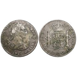 Potosi, Bolivia, bust 8 reales, Charles III, 1788PR.