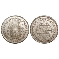 Brazil (Bahia mint), 960 reis, Joao Prince Regent, 1815, struck over a Spanish colonial bust 8 reale