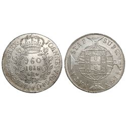 Brazil (Rio mint), 960 reis, Joao VI, 1818-R, struck over a Guatemala bust 8 reales of 1799.