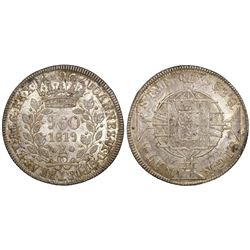 Brazil (Rio mint), 960 reis, Joao VI, 1819-R, struck over a Spanish colonial bust 8 reales of 1796.