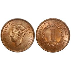 British Honduras, bronze 1 cent, George VI, 1949, encapsulated ANACS MS 64 red.