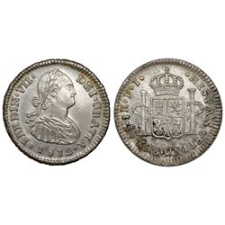 Santiago, Chile, bust 1 real, Ferdinand VII (bust of Charles IV), 1812FJ.