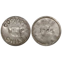 Copiapo, Chile, 1 peso, 1865 restrike.