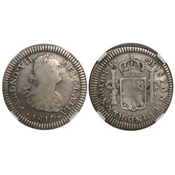 Bogota, Colombia, bust 1 real, Ferdinand VII (bust of Charles IV), 1816FJ, encapsulated NGC F 12.