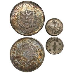 Lot of 2 Colombian minors of 1849: 2 reales Bogota and 1/4 real Popayan.