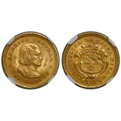 Costa Rica, gold 2 colones, 1928, encapsulated NGC MS 65.