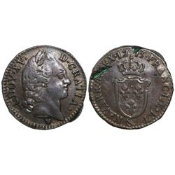 France (Aix mint), copper sol d'aix, Louis XVI, 1773, mintmark ampersand.