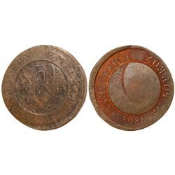 Contemporary imitation of a France (Strasbourg mint) copper 5 centimes, 1808-BB.