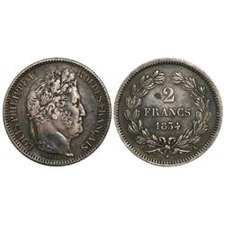 France (Paris mint), 2 francs, Louis Philippe I, 1834-A.