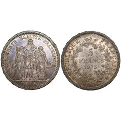 France (Paris mint), 5 francs, 1873-A.