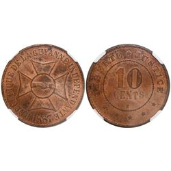 French Guiana, copper essai 10 centimes, 1887-E, encapsulated NGC PF 64 RB, tied with two others for