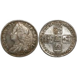 Great Britain (London, England), sixpence, George II, 1746, with LIMA below bust.