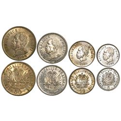 Lot of 4 Haitian copper-nickel minors: 5 centimes 1905, 10 centimes 1906, 20 centimes 1907, and 50 c