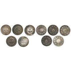 Lot of 5 Honduras 10 centavos, various dates: 1884, 1885, 1886, 1893/83 and 1895.