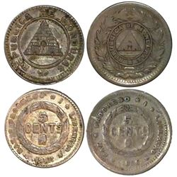 Lot of 2 Honduras 5 centavos, 1886, different types.