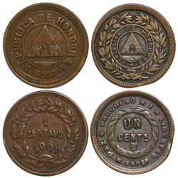 Lot of 2 Honduras bronze 1 centavos, 1901/1897 and 1908.