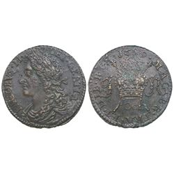 "Ireland, brass ""gun money"" half crown, James II, 1689 Oct."