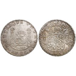 Mexico City, Mexico, pillar 8 reales, Ferdinand VI, 1754MF, both crowns royal.