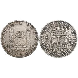 Mexico City, Mexico, pillar 8 reales, Ferdinand VI, 1754MF, imperial crown on left pillar.