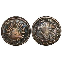 """Mexico City, Mexico, cap-and-rays 1/2 real, 1824JM, """"hookneck"""" eagle."""