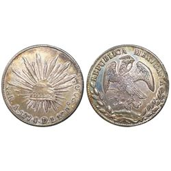 Alamos, Mexico, cap-and-rays 8 reales, 1874DL.