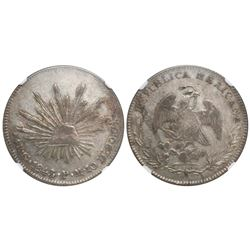 Guanajuato, Mexico, cap-and-rays 4 reales, 1843/3PM, convex-wings variety, encapsulated NGC XF 40.