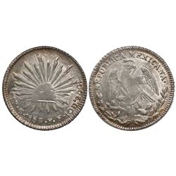 Guanajuato, Mexico, cap-and-rays 1 real, 1853/2PF.