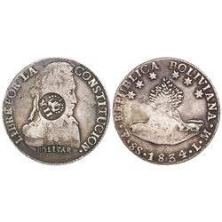"Philippines (under Spain), 8 reales, Isabel II, crowned ""Y.II."" countermark (1834-7) on a Potosi, Bo"