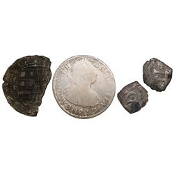 Lot of 4 Spanish colonial silver minors: Bust 2R Guatemala 1792M; cob 1R Potosi Philip II assayer B;