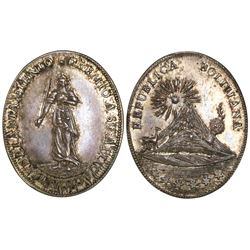 Potosi, Bolivia, oval silver medal, mid-1800s, academic award.