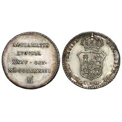 Cuba (under Spain), 1/2R-size proclamation medal, Isabel II, 1833, struck in Madrid.