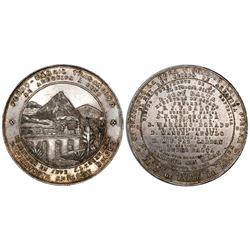 Lima, Peru, large silver medal, 1870, Transandine Railroad (Arequipa to Puno).