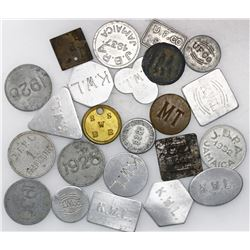 Lot of 23 Jamaican tokens and fruit-trade tallies from the early 1900s, various metals and companies