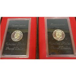 2 - 1971 Eisenhower proof dollars, cased