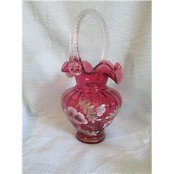 Fenton 95th year Glass Legacy Collection Cranberry basket with clear handle hand painted and signed