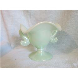"Fenton  Fish handled bowl Seafoam green 5"" tall; Fenton Burmese rose bowl footed 4"" tall and 5"" diam"