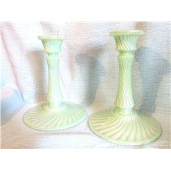 "Fenton pair of candlesticks seafoam green swirl design 7"" tall"