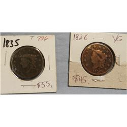 2  large cents, 1826 and 1835